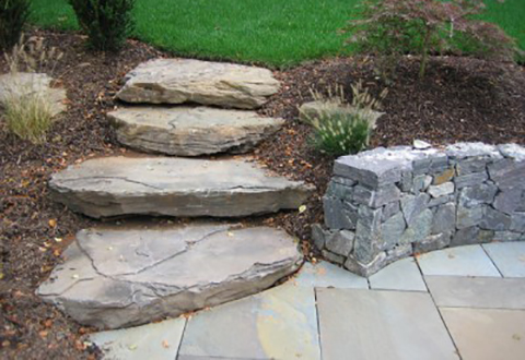 Garden steppers, landscaping and natural stone walkway